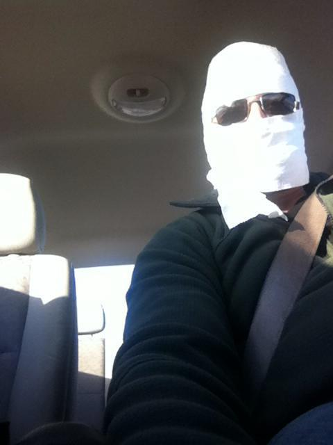 I mean, doesn't everyone drive around with toilet paper wrapped around their head?